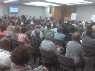 A large crowd gathered to hear Sen. Brown