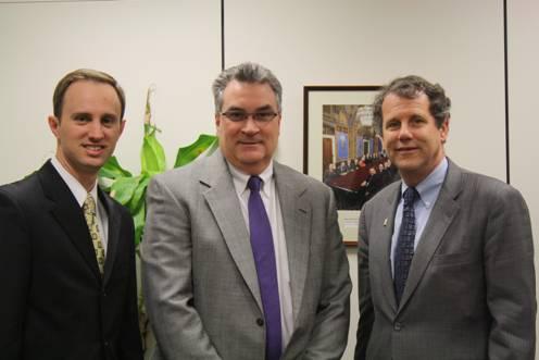 (LtoR: OABA President Heneny, Board Chairman Mayer, Senator Brown)