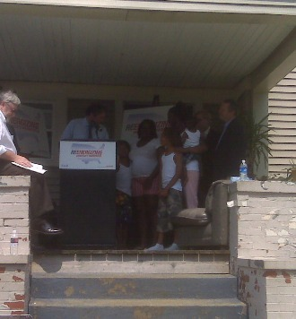 Sen. Brown at the  weatherization event