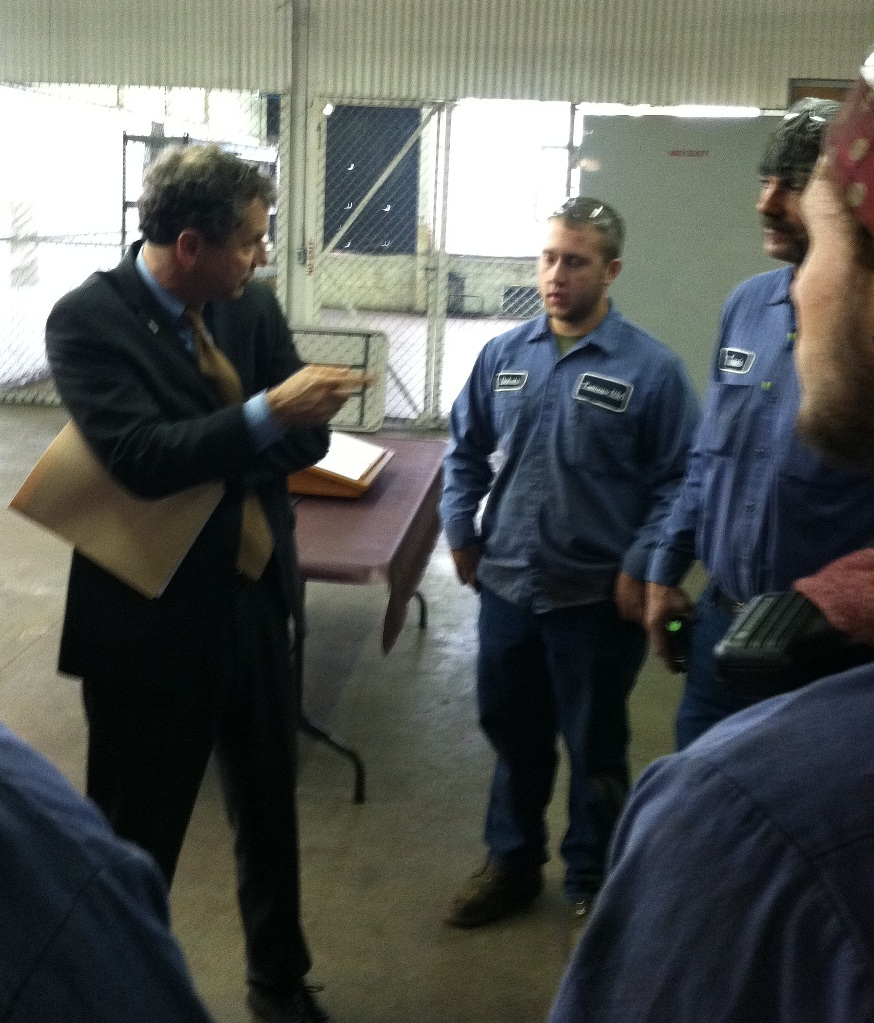 Sen. Brown and Workers at Tremcar in Dover