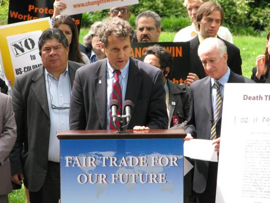 Senator Brown Speaks out against the Colombia Free Trade Agreement