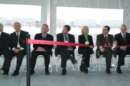 Senator Brown at the opening ceremony for the Rickenbacker Intermodal terminal in Columbus