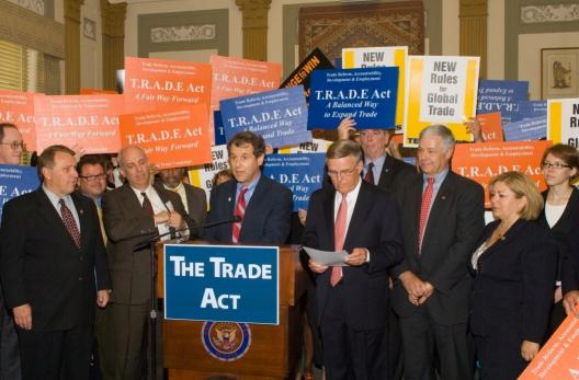 Senator Brown speaks at the introduction of the TRADE act, S. 3083