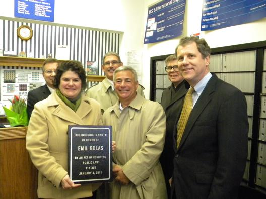 Dedicating the Emil Bolas Post Office in Sharon Center