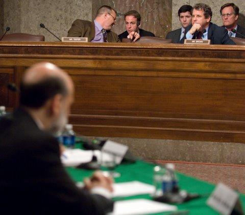 Senator Brown and Federal Reserve Chairman Bernanke at the Senate Banking Committee hearing