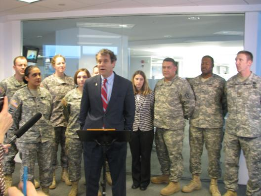 U.S. Senator Brown presents Ohio servicemembers with tickets to inauguration