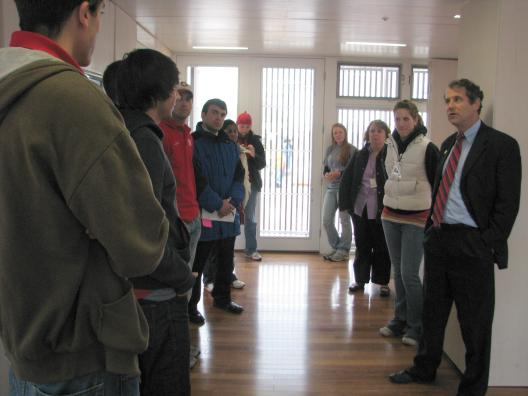 Sen. Brown joins OSU students at the Solar Decathlon