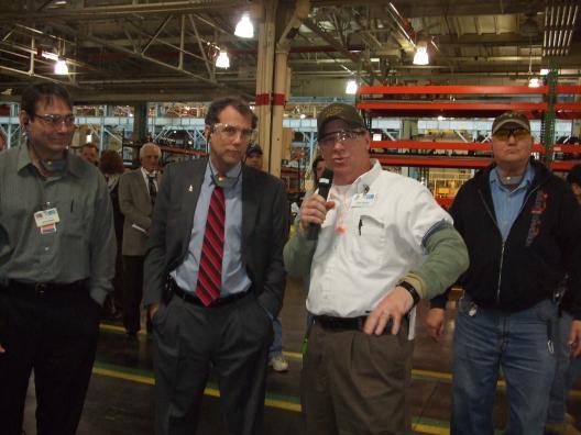 Senator Brown at the GM plant in Parma
