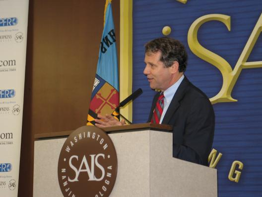 Senator Brown speaks at the Johns Hopkins School of Advanced International Studies