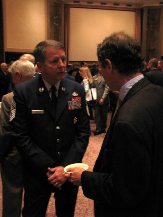 Senator Brown meets with Ohio Air Force personnel at the Congress Morning Reception of the Air Force Association's 2008 Air & Space Conference and Exposition on September 16, 2008